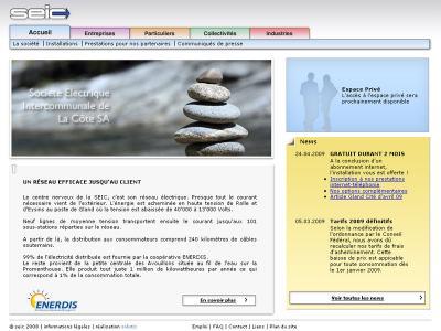 Réalisation du site internet de la Société Electrique Intercommunale de la Côte