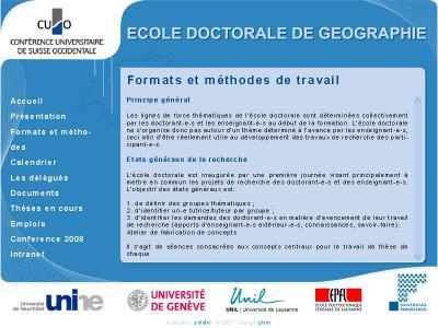 Réalisation du site internet de l'école doctorale de géographie
